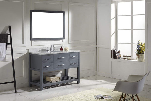 Storage virtu usa caroline estate 48 inch single sink bathroom vanity set in grey w round undermount sink italian carrara white marble countertop no faucet 1 mirror ms 2248 wmro gr