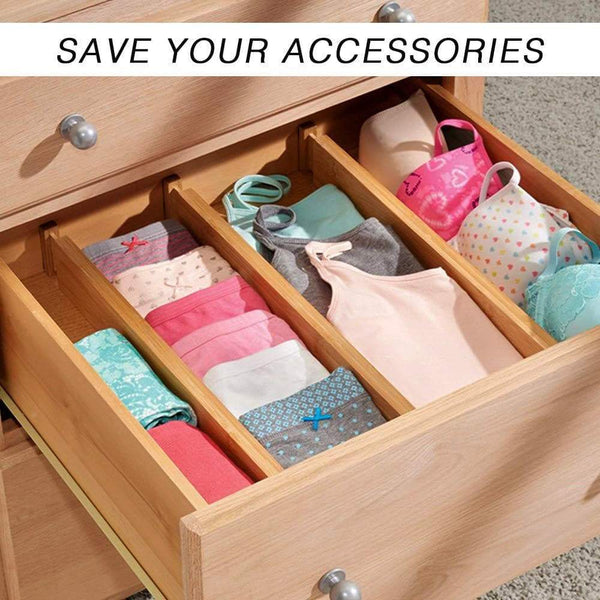 Selection shineme drawer dividers bamboo set of 4 kitchen separators organizers spring adjustable expendable suitable for bedroom baby drawer bathroom and desk