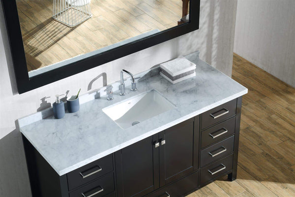 Discover the best ariel cambridge a061s cwr esp 61 inch single sink bathroom vanity set in espresso with carrara white marble countertop rectangular sink