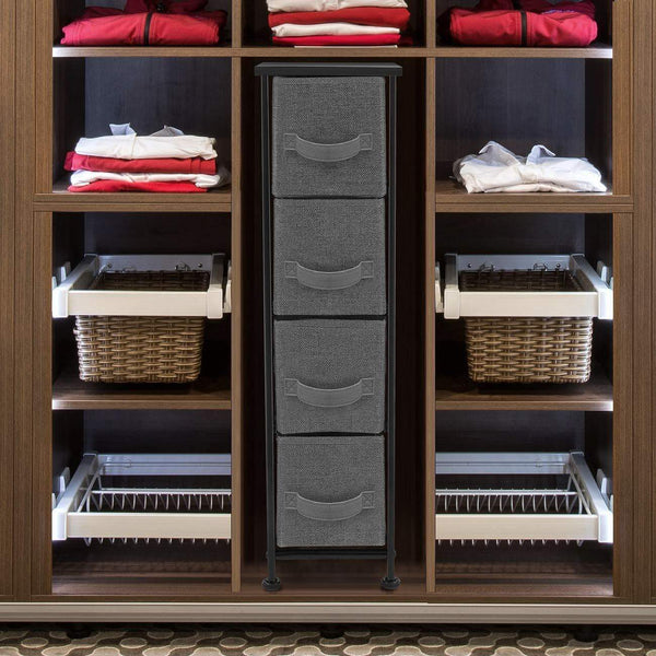 Order now sorbus narrow dresser tower with 4 drawers vertical storage for bedroom bathroom laundry closets and more steel frame wood top easy pull fabric bins black charcoal