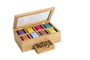 KicheNest Bamboo Tea Box Organizer Chest Caddy With 8 Compartments For Up To 140 Tea Bags – Elegant Wood, Magnetic Closure, Clear View Lid, Expandable Drawer – For Display, Tea Parties, Gifts & More