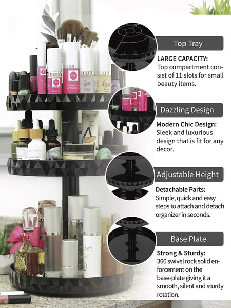 Amazon modern chic makeup organizer 360 rotation black adjustable height 3 layers storage fit makeup lipstick cosmetic skincare perfume perfect on dresser bedroom bathroom countertop
