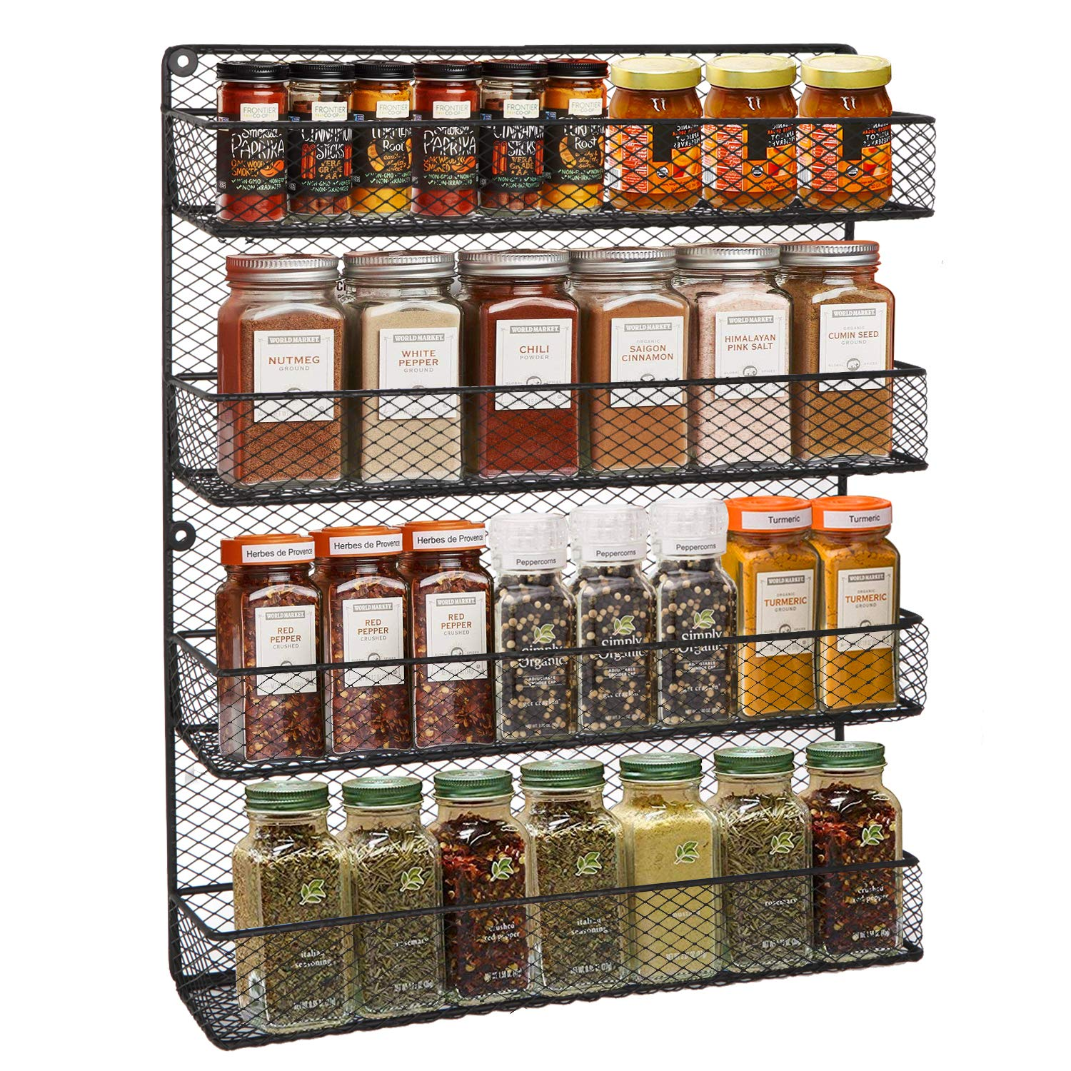 BBBuy 4 Tier Spice Rack Organizer wall mounted Country Rustic Chicken Holder Large Cabinet or Wall Mounted Wire Pantry Storage Rack, Great for Storing Spices, Household stuffs