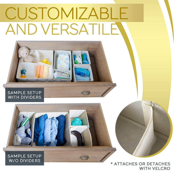 Latest set of 4 organizer bins with dividers for closet dresser drawer inserts bathroom dorm or baby nursery store socks underwear clothes clothing organization organizador de closet set of 4 beige
