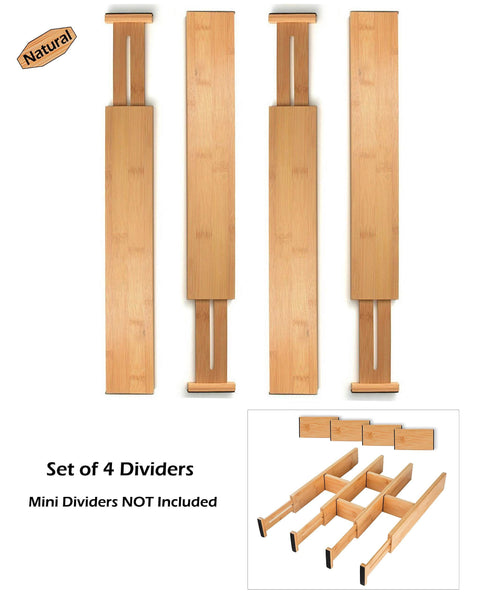 Kitchen skatco bamboo drawer dividers spring adjustable kitchen drawer organizers set of 4 bamboo drawer organizer drawer divider for the kitchen bedroom dresser office bathroom natural