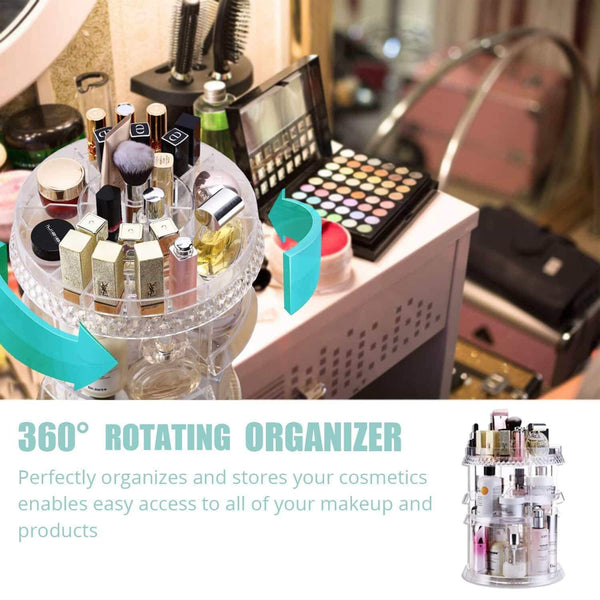 The best makeup organizer acrylic cosmetic organizer vanity and rotating makeup storage perfume organizer with large capacity fit cosmetics perfume brush and more for countertop bathroom and bedroom