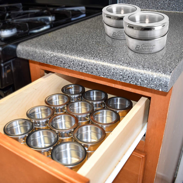 12 Magnetic Spice Tins, Magnetic Spice Containers Stainless Steel for Refrigerator and Small Kitchens, Spice Container Organizers, Spice Jars Organizer set of 12