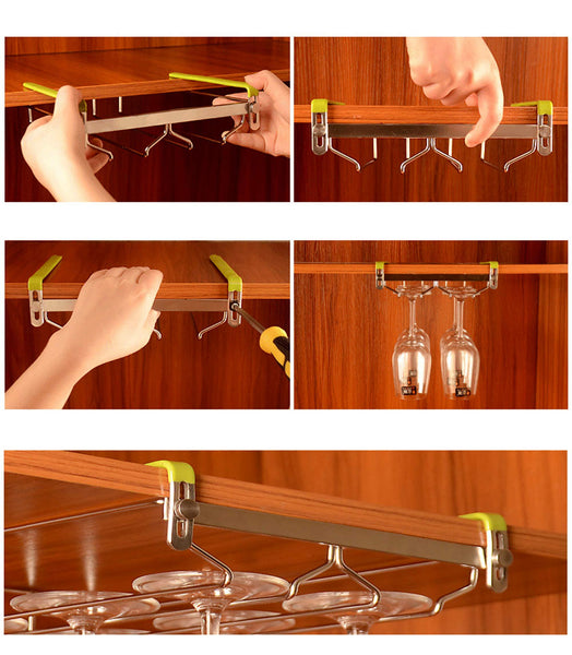 VOBAGA Stemware Racks 3 Rows Adjustable Stainless Steel Wine Glass Rack Stemware Hanger Bar Home Cup Glass Holder Dinnerware Kitchen Dining,Hold 9 Glasses