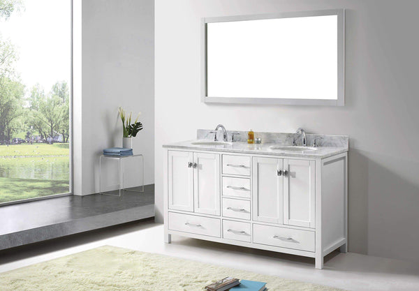 Storage organizer virtu usa caroline avenue 60 inch double sink bathroom vanity set in white w round undermount sink italian carrara white marble countertop no faucet 1 mirror gd 50060 wmro wh