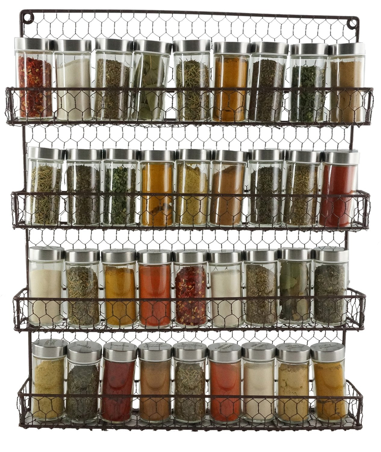4 Tier Metal Spice Rack Wall Mount Kitchen Spices Organizer Pantry Cabinet Hanging Herbs Seasoning Jars Storage Closet Door Cupboard Mounted Holder Raw Rustic Brown