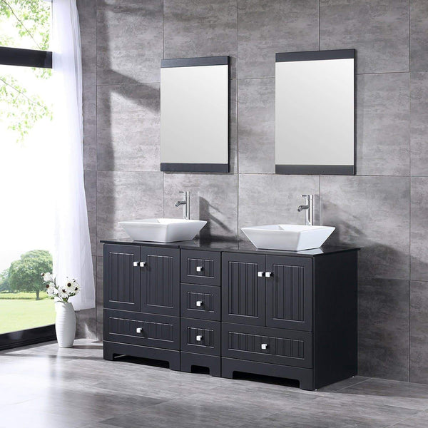 Online shopping sliverylake 60 bathroom vanity and sink combo bathroom cabinet black countertop sink bowl w mirror set ceramic vessel black trapeziform