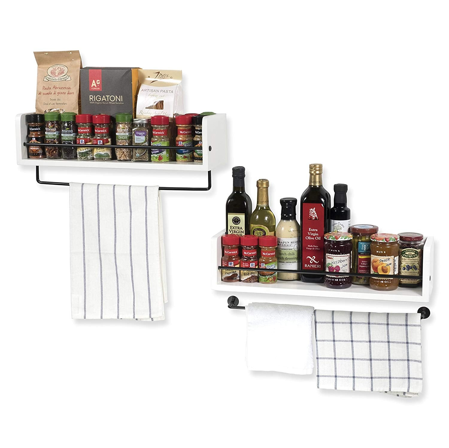 Rustic Kitchen Décor Spice Storage Rack with Towel Rail by ArtifactDesign Set of 2 White