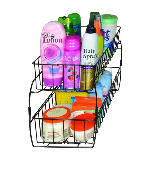 Save smart design 2 tier stackable pull out baskets sturdy wire frame design rust resistant vinyl coat for pantries countertops bathroom kitchen 18 x 11 75 inch bronze