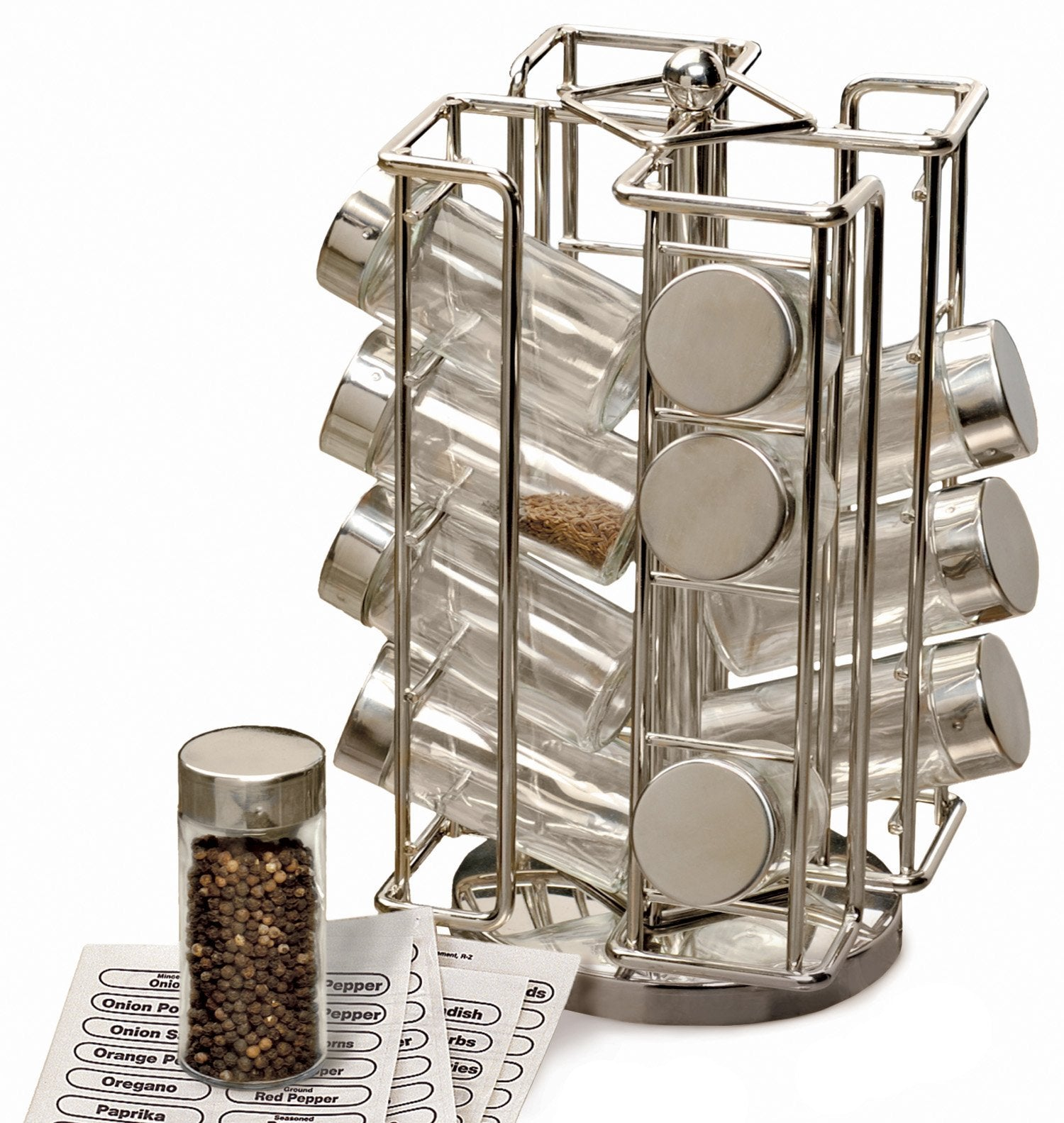"Spice Rack - Revolving Chrome Spice Rack (6 1/2"" x 6 1/2"" x 11 1/2"")"