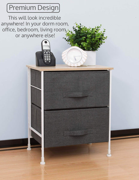 Cheap luxton home 2 drawer storage organizer 60 second fast assembly no tools needed small gray linen tower dresser chest dorm room essential closet bedroom bathroom 2d grey