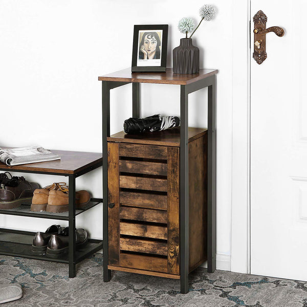 Shop for vasagle industrial bathroom storage cabinet end table storage floor cabinet with shelf multifunctional in living room bedroom hallway rustic brown ulsc34bx
