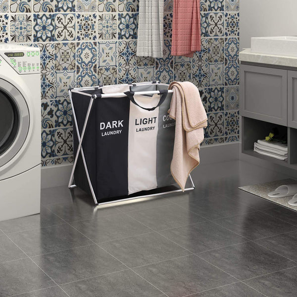 Get qf laundry hamper with 3 sections foldable sorter laundry basket for bedroom laundry room bathroom college apartment and closet