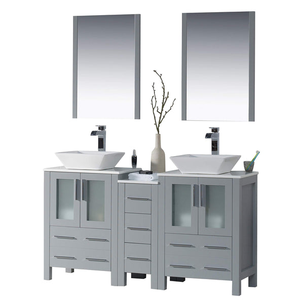 Top blossom sydney 60 inches double vessel sink bathroom vanity side cabinet vessel ceramic sink with mirror solid wood metal grey 001 60 15d 1616v