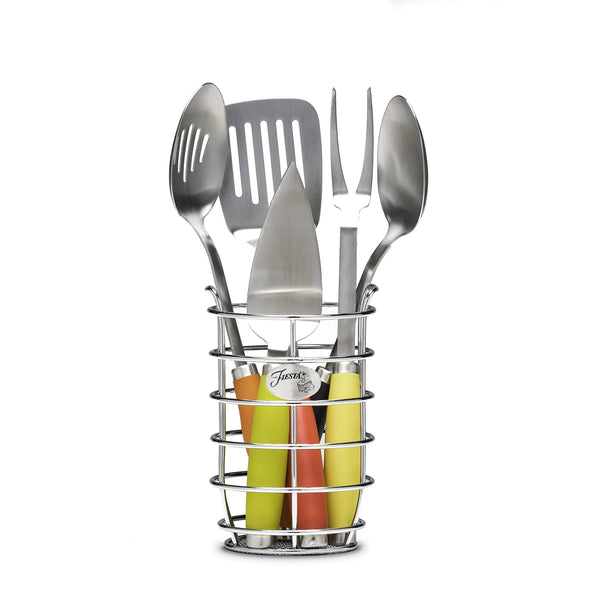 Fiesta 5Piece Stainless Steel Utensil Set with Crock, Multi