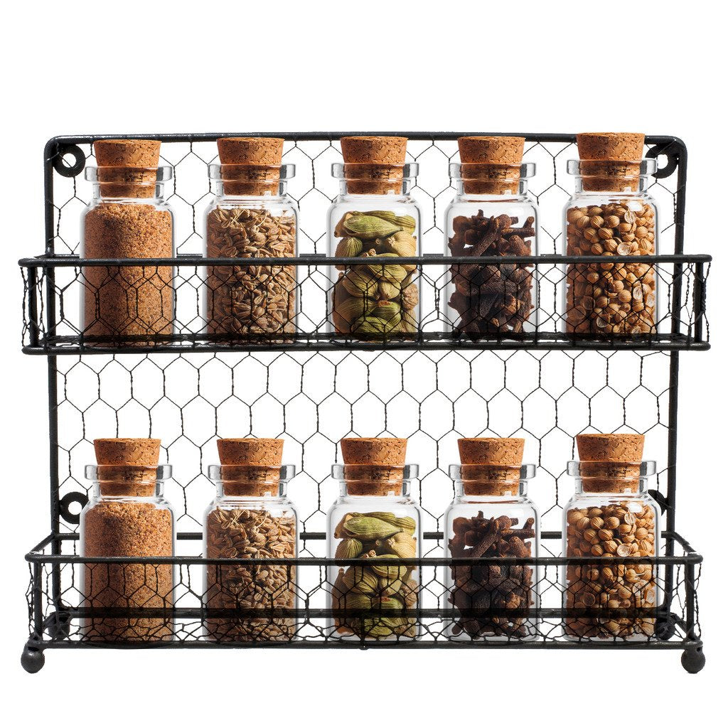 Sorbus Spice Rack Multi-Purpose Organizer- 2 Tier Wall Mount or Counter Top Display Storage Spice Rack