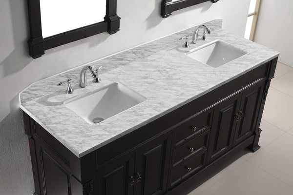 Home virtu usa gd 4072 wmsq dw huntshire 72 double bathroom vanity with marble top and square sink with mirrors 72 inches dark walnut