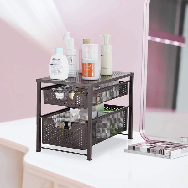 Budget friendly simple trending 2 tier under sink cabinet organizer with sliding storage drawer desktop organizer for kitchen bathroom office stackbale bronze