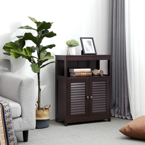 Budget friendly vasagle bathroom storage floor cabinet free standing cabinet with double shutter door and adjustable shelf brown ubbc40br