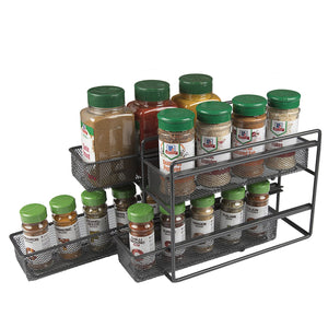 SBS 2 Tier 4 Drawer Spice, Seasoning and Herb, Sliding Organizer Rack for Pantry, Cupboards, Cabinets and Counter Tops.