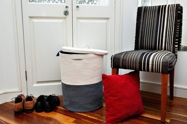 Organize with extra large cotton rope laundry basket with lid laundry hamper with lid woven storage organizer for blankets pillows towels clothes toys baby nursery bathroom living room kitchen dark gray white