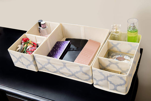 Heavy duty set of 4 organizer bins with dividers for closet dresser drawer inserts bathroom dorm or baby nursery store socks underwear clothes clothing organization organizador de closet set of 4 beige