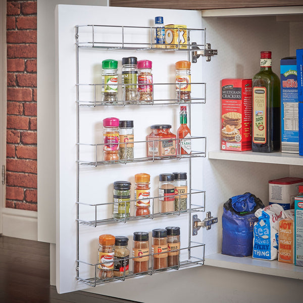 VonShef 5 Tier Spice Rack Chrome Plated (Easy Fix) for Herbs and Spices Suitable for Wall Mount or Inside Cupboard