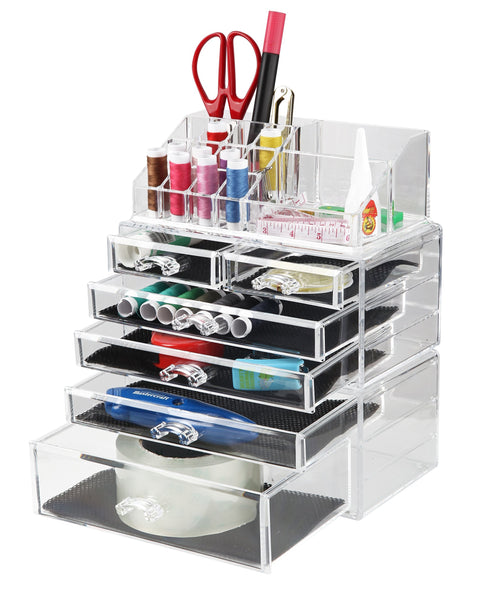 Storage finnhomy 3 tier acrylic makeup cosmetic jewelry diamond organizer 3 piece set counter storage case large display drawer box bathroom vanity case for lipstick brush nail polish clear