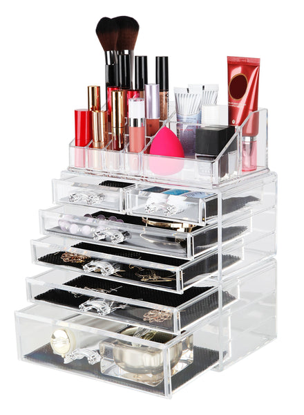 Top finnhomy 3 tier acrylic makeup cosmetic jewelry diamond organizer 3 piece set counter storage case large display drawer box bathroom vanity case for lipstick brush nail polish clear