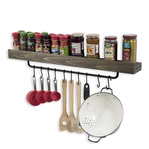 Industrial Design Wall Mount 30 Inch Spice Rack with Towel Holder and Hooks by Rustic State Reclaimed Wood Walnut