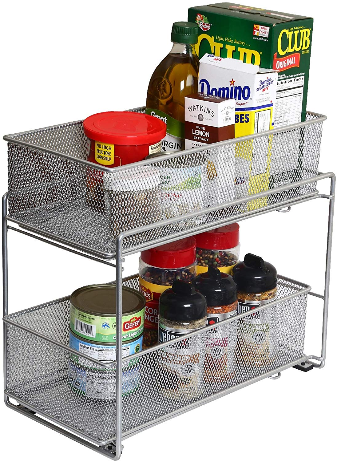 YBM Home Silver 2 Tier Mesh Sliding Spice and Sauces Basket Cabinet Organizer Drawer 2304