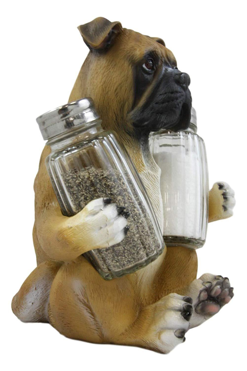 "Ebros Gift Realistic Fawn Boxer Puppy Dog Hugging Glass Salt Pepper Shakers Holder Decorative Statue 6.25""High Resin Dogs Boxers Memorial Pets Pet Pal Animal Home Kitchen Spice Organizer Figurine"