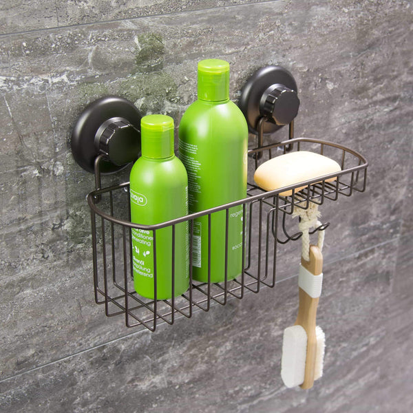 Exclusive hasko accessories powerful vacuum suction cup shower caddy basket for shampoo combo organizer basket with soap holder and hooks stainless steel holder for bathroom storage bronze