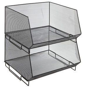 MyGift Deluxe Stackable Metal Wire Mesh Fruit & Produce Basket Rack, Kitchen Stacking Storage Bin, Set of 2