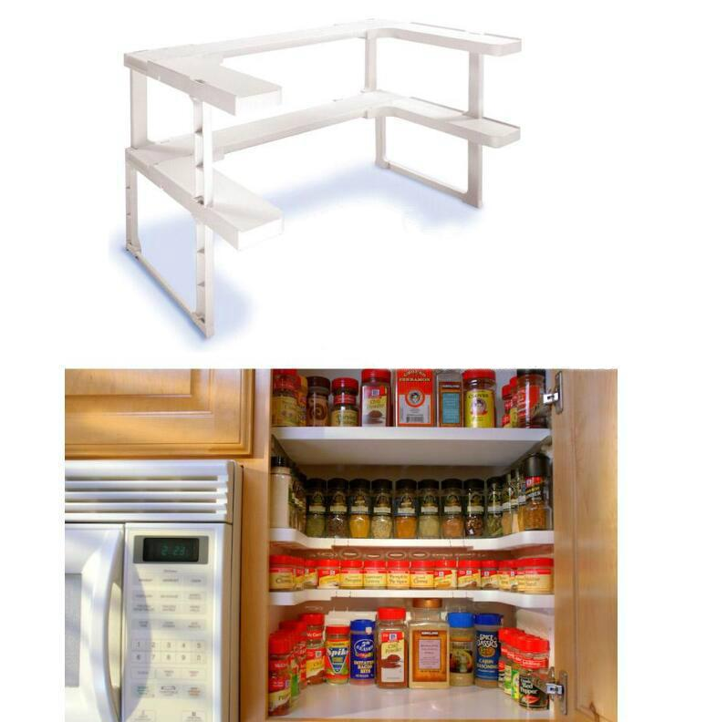 2 Layers Adjustable Shelf Kitchen Spice Organizer