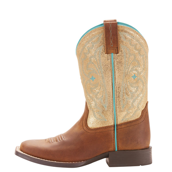 Children Girls Quickdraw Gold Cowboy Boots