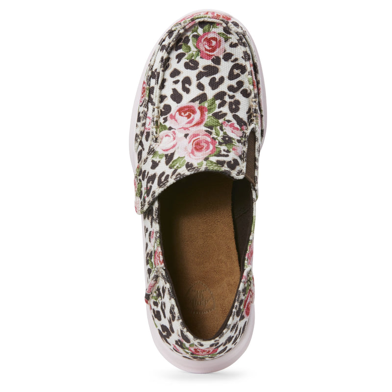 Youth Leopard and Pink Roses Girl's Slipon Cruiser