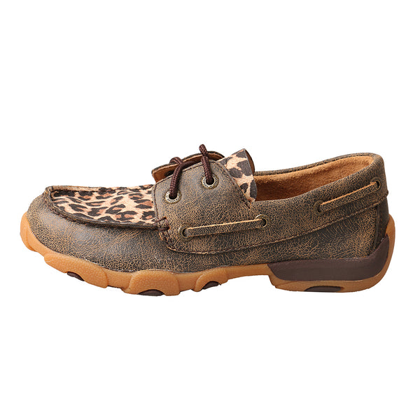 Kid's Boat Shoe Driving Moc Distressed Leopard