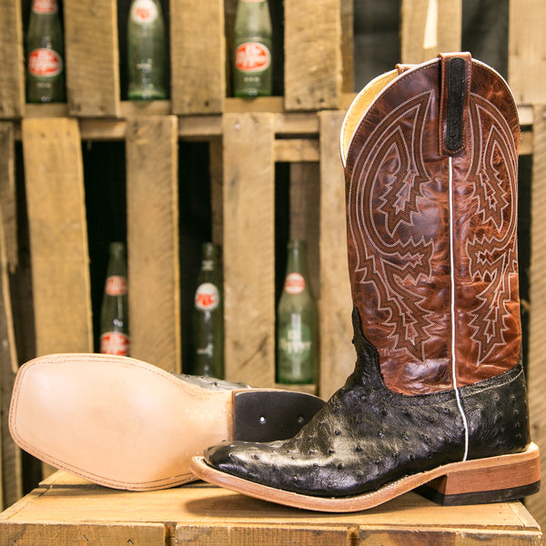 Men's Black Full Quill Ostrich with Rust Lava Top