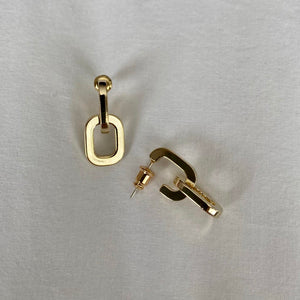 Double Link Gold Hoops