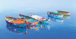 5 Boats Blue Canvas Prints