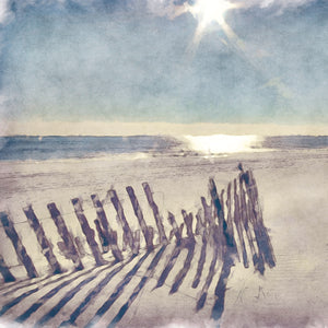 Beach Fence Light Crop Canvas Art