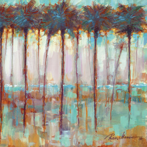 Palms at Dusk Square Canvas Art