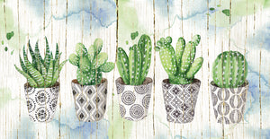 Potted Succulents on Wood Canvas Prints
