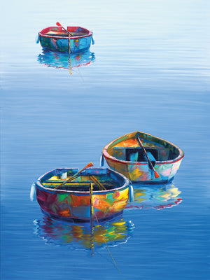 Three Boats Blue Vertical Canvas Prints