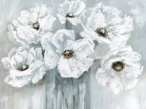 White Poppy Bouquet on Grey Canvas Art